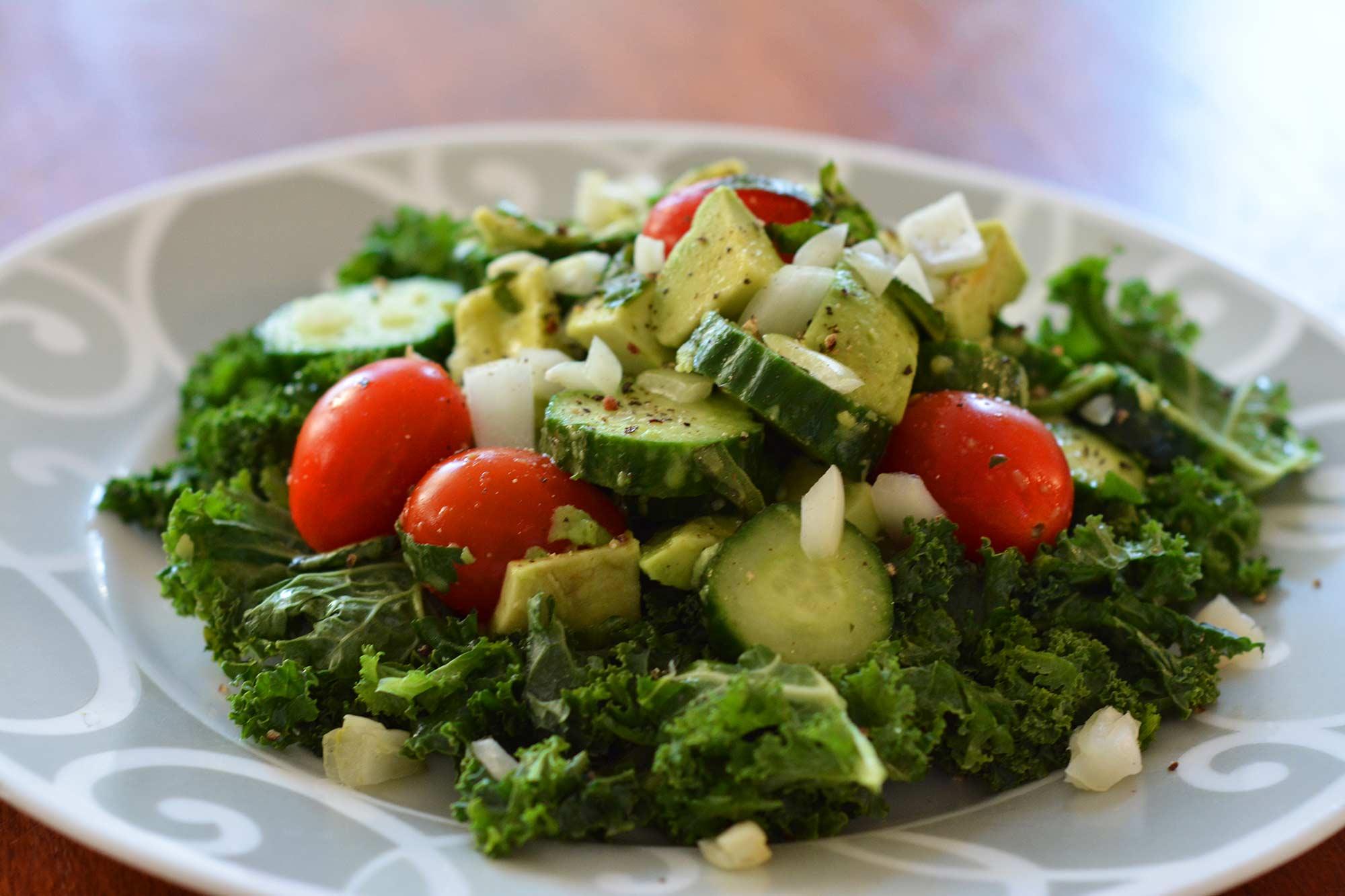Alkaline Diet Kale Basil Salad Recipe
