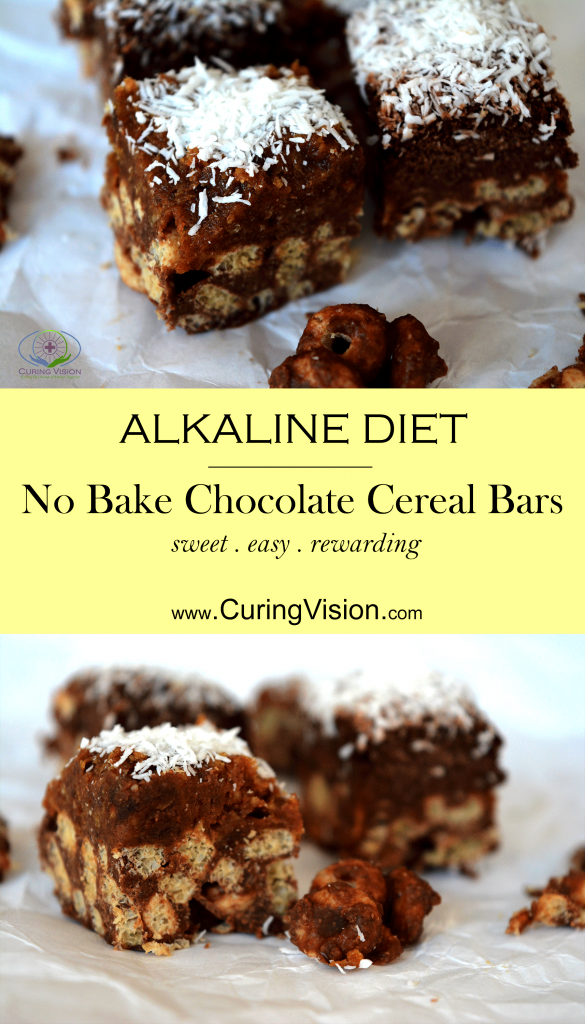 Alkaline Diet No Bake Cereal Chocolate Candy Bar. Use this recipe to satisfy your sweet tooth cravings with a naturally sweetened treat. These easy no bake desserts suitable for the Wahls Protocol, Vegan Diet, Vegetarian Diet, and Alkaline Diet.