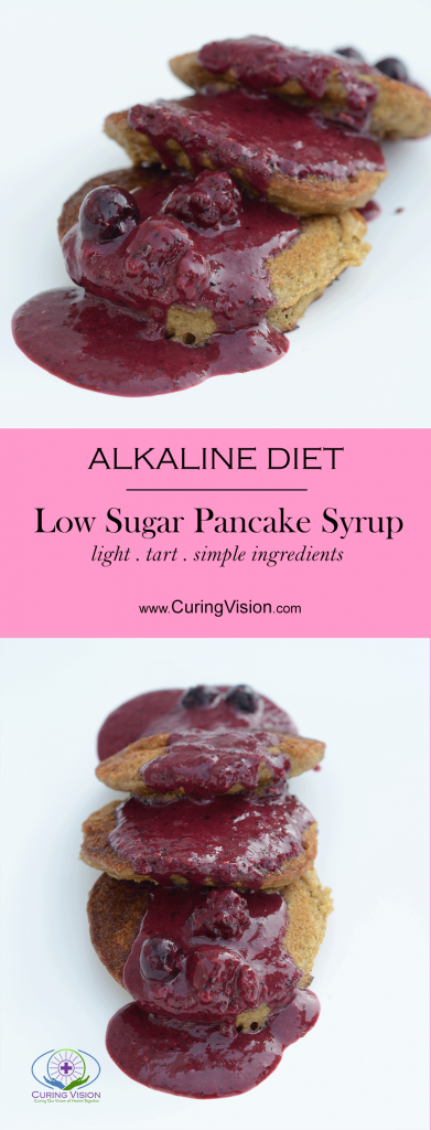 Easy Recipe Low Sugar Pancake Syrup for Gluten Free Alkaline Diet Pancakes that are mixed in a blender, have a hidden veggie, and have the texture identical to grains with gluten.