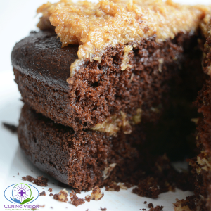 The Best German Chocolate Cake made with whole food ingredients, low sugar, suitable for the alkaline diet, dairy free, nut free, and high in fiber.