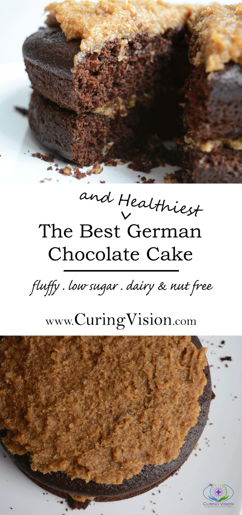 Do you love chocolate cake but don't like the sugar rush? This is he Best German Chocolate Cake made with whole food ingredients and the coconut frosting is made with dates. It is low sugar, refined sugar free, dairy free, nut free, and high in fiber.