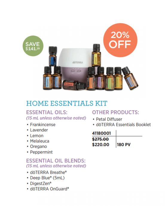 doTERRA Home Essentials Kit 20% off November 2017