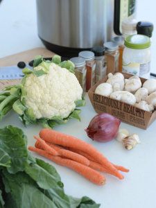 Cauliflower Curry Spice Vegetables Instant Pot Meal: Do you have a small kitchen or live full time traveling in an RV and are looking for a flavor filled meal that is easy to assemble, full of plant based nutrition? This recipe is suitable for Alkaline Diet, RV Living, Wahls Protocol, AIP Diet, Paleo, Vegan, Vegetarian Diets. CuringVision.com