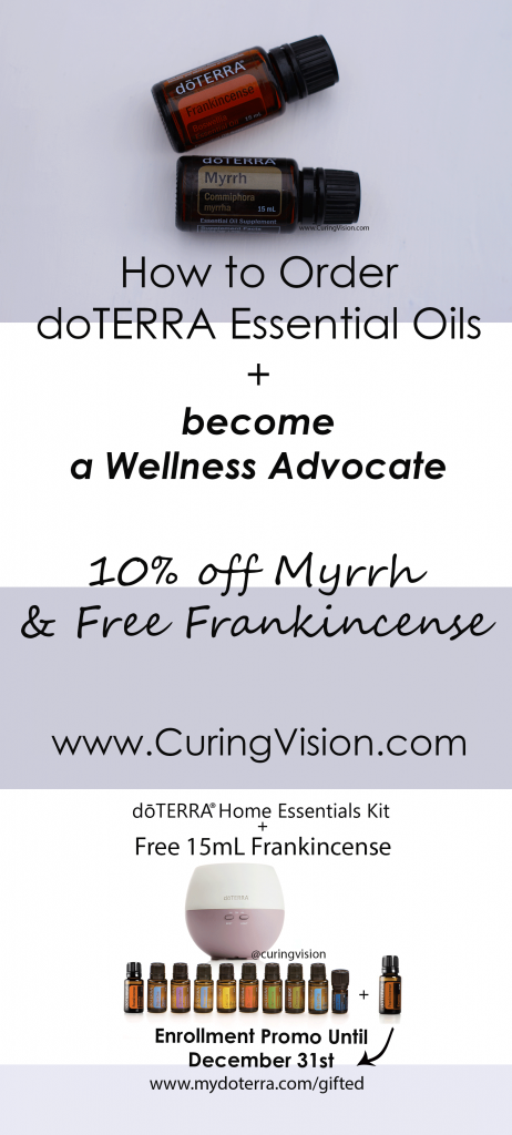 How to Become a doTERRA Wellness Advocate and get Frankincense for Free plus 10% off Myrrh Essential oils all Included within One Easy Order: Would You like to start your own doTERRA business? In this post I explain how I began using doTERRA essential oils and became a Wellness Advocate so that you can too!
