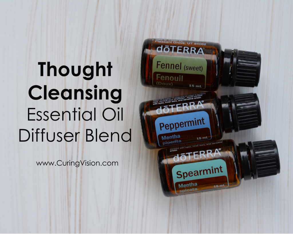 Thought Cleansing Essential Oil Diffuser Blend: Use this doTERRA essential oil blend when you are loosing focus in the day and need to alleviate foggy thoughts to clear thoughts. Purchase doTERRA essential oils with a 25% discount. #brainfog #clearthoughts #doterra