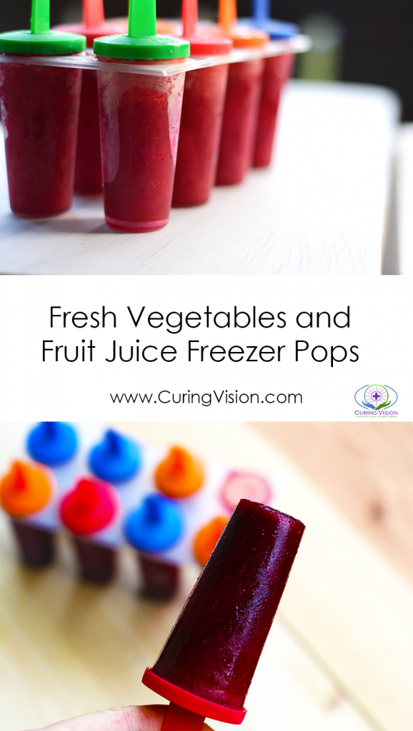 Looking for an easy and fun way to eat more vegetables and fruit? These freezer pops are made with fresh vegetable juice from carrots and beets with a splash of fresh pineapple juice to perfectly sweeten it. These freezer pops are great for any time, especially when you would like to train taste buds to accept more whole vegetables and fruits for a balanced plant-based diet. #freezerpops #alkalinediet #kidmeals #funfood #freshjuice #carrotjuice #beetjuice #pineapplejuice #curingvision #wholefoods #whole30 #wahlsprotocol #paleo #summertreat www.CuringVision.com