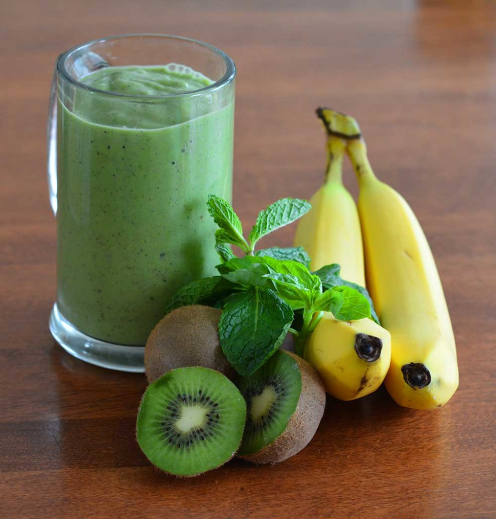 Basil Mint Kiwi Green Smoothie: Are you wanting to include a daily smoothie into your daily meals? This recipe supports your gut microbiome health, is alkaline diet friendly, and with the combined ingredients it is a complete meal for a blended diet. CuringVision.com
