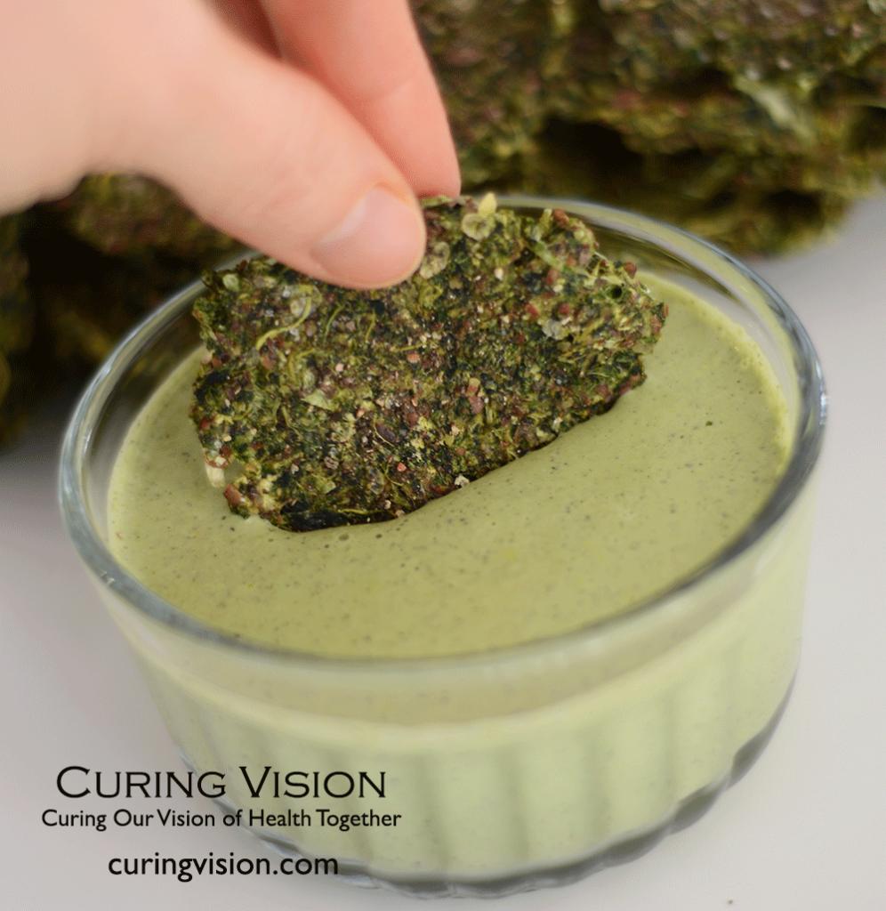 Alkaline Diet Probiotic Hemp Basil Dip for Flax Crackers, Chopped Veggies, or Salad Dressing