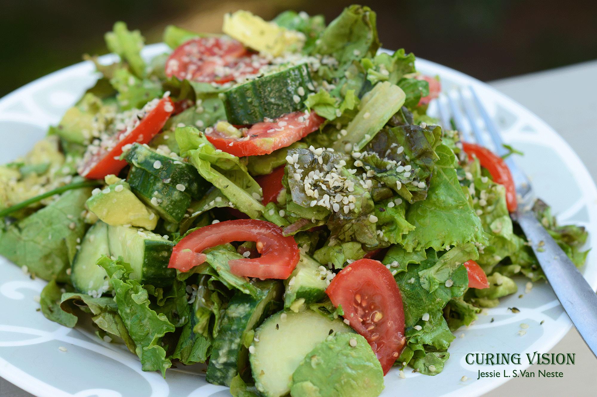Avocado Hemp Salad for Alkaline Diet, Paleo Diet, AI Paleo Diet, Wahls Protocol, or Raw Vegan Diet