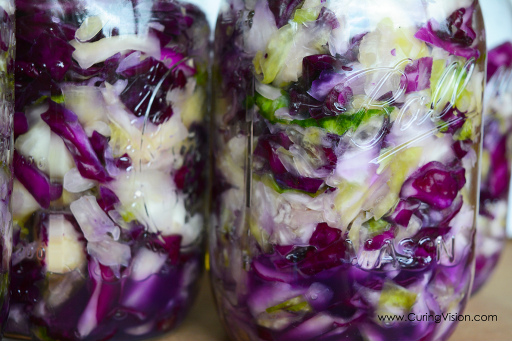 What are the benefits of eating fermented foods, including sauerkraut and are fermented foods allowed on the Alkaline Diet? How to make homemade sauerkraut? This is an easy to make sauerkraut recipe. Only two ingredients needed, cabbage and sea salt. Use this recipe to make your own complex probiotic and vitamin C supplement to top most any meal. Suitable for the Alkaline Diet, Whole30 Diet, Keto Diet, Wahls Protocol, Vegan Diet, and Clean Eating. #alkalinediet #fermentedfoods #sauerkraut #homemade #guthealth #gutmicrobiome #vitaminC #digestion