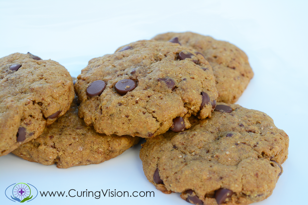 Low Sugar Egg and Dairy Free Chocolate Chip Cookies: These are a perfect recipe to satisfy your cookie craving without derailing your healing efforts. Perfect for the Alkaline Diet, Vegan, Vegetarian, Kid-friendly, Clean Eating